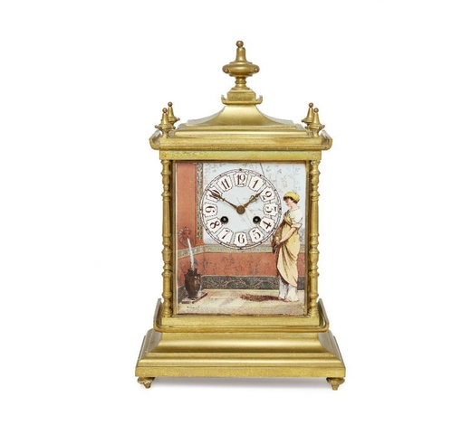 RoseberysAn Aesthetic movement brass and porcelain clock retailed by Maple & Co