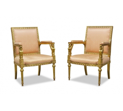 RoseberysA pair of French Empire style giltwood fauteuils