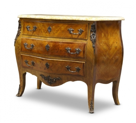 RoseberysA Louis XV style tulipwood and gilt metal mounted bombe commode