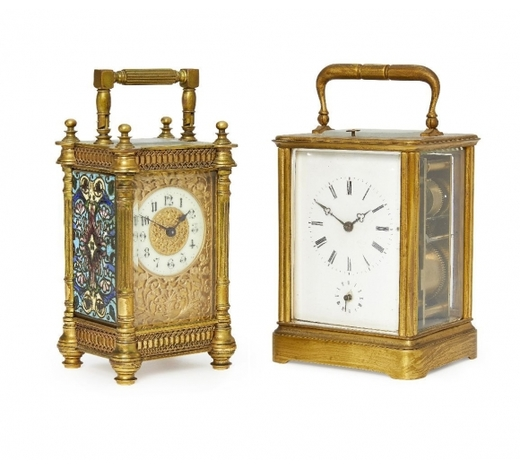 RoseberysA French brass and enamelled carriage clock