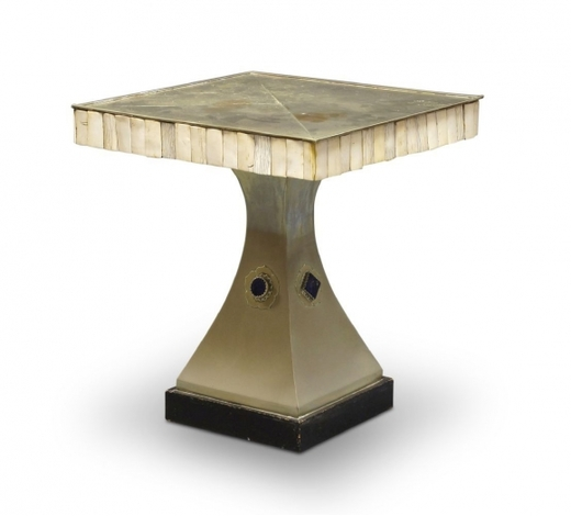 RoseberysA bone and plated metal pedestal table by Anthony Redmile