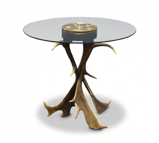 RoseberysA glass and antler circular table by Anthony Redmile