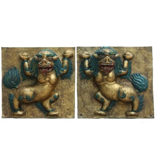 Madison Square Gallery Inc.Pair Of Gilt Bronze Mythical Beast Plaques