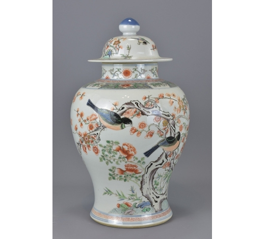 Ma San AuctionA Chinese 19th century famille rose porcelain vase and cover. Repair to rim. 44cm