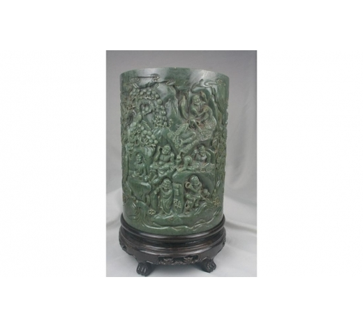 Hua XinChinese Green Jade Brush Pot