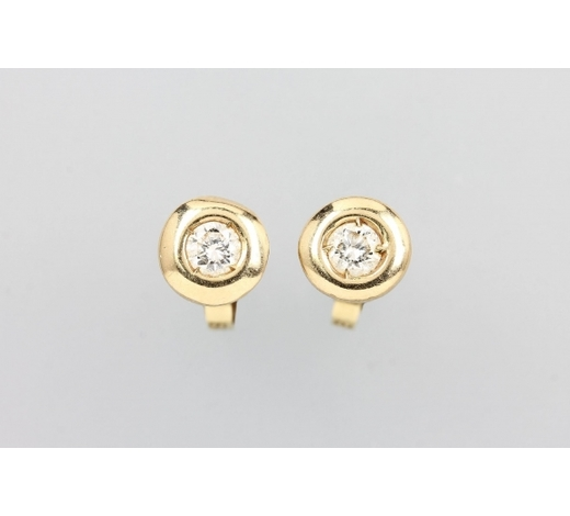 Henry'sPair of 14 kt gold earrings with brilliants