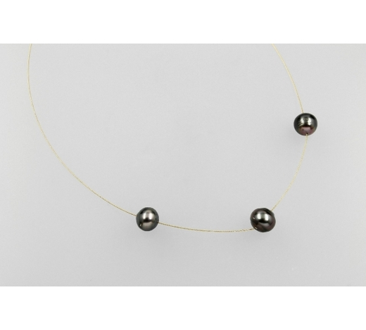 Henry's14 kt gold circlet with cultured tahitian pearls