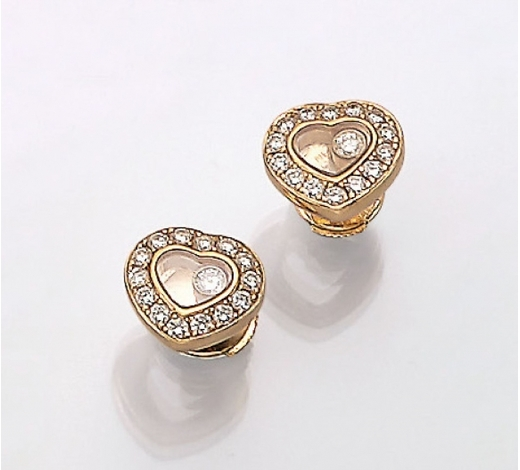 Henry'sPair of 18 kt gold CHOPARD earrings with diamonds