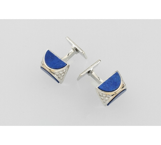 Henry'sPair of 18 kt gold QUINN cuff links with lapislazuli and brilliants