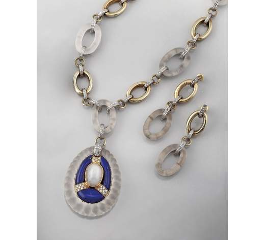 Henry's14 kt gold jewelry set with lapis lazuli