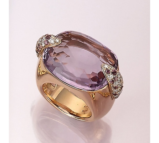 Henry's18 kt gold POMELLATO ring with amethyst and brilliants