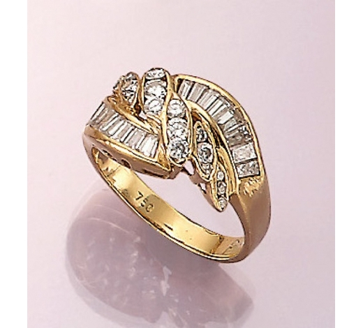 Henry's18 kt gold ring with diamonds and brilliants