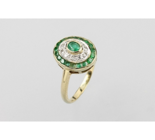 Henry's14 kt gold ring with emeralds and diamonds