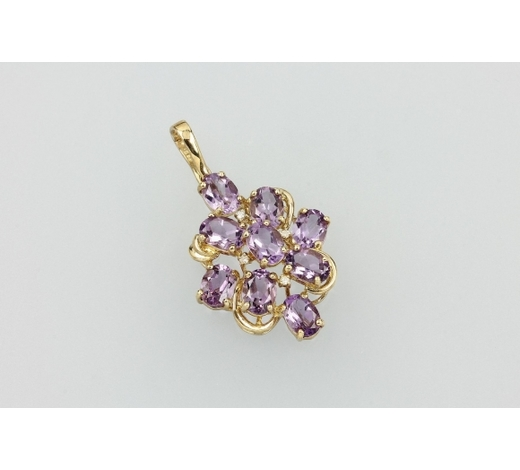 Henry's8 kt gold clip pendant with amethysts and diamonds