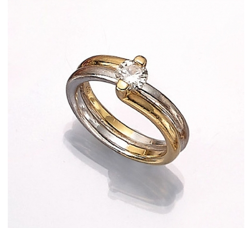 Henry's18 kt gold ring with brilliant