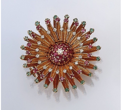 Henry's14 kt gold brooch with coloured stones and diamonds
