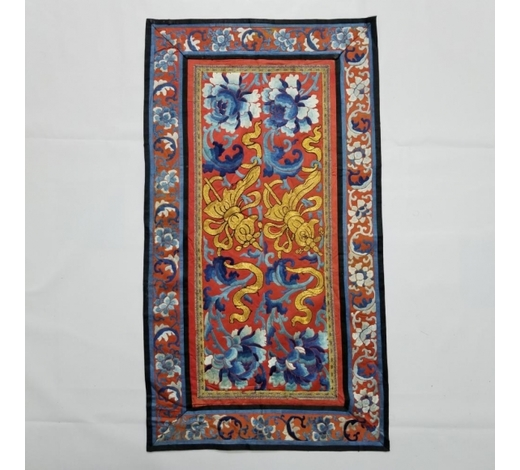 Galaxy Auction IncAntique Chinese Silk Embroidered Panel with Gold Thread