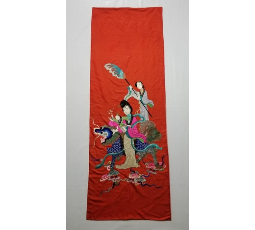 Galaxy Auction IncAntique Chinese Silk Hand Embroidered Figural Panel