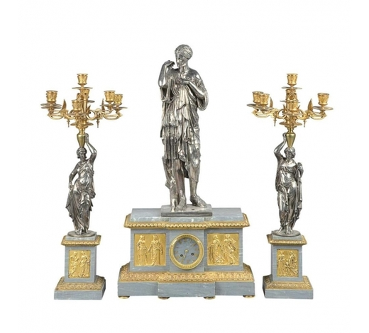 Hidden Treasures Antiques & Fine ArtsSusse Freres Gilt and Silvered Bronze and Marble Clock Garniture