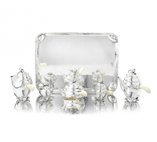Bonhams England【Y Ф】GEORG JENSEN: a Danish silver six-piece Blossom pattern tea and coffee service with tray
