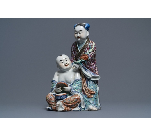 Rob Michiels AuctionsA Chinese famille rose group of two children, impressed marks, Republic, 20th C.