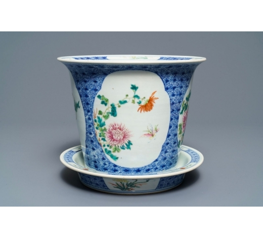 Rob Michiels AuctionsA Chinese famille rose floral jardinière on stand, Guangxu mark, Republic, 20th C.