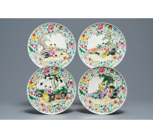 Rob Michiels AuctionsFour Chinese famille rose plates with ladies in a garden, Guangxu mark, Republic, 20th C.