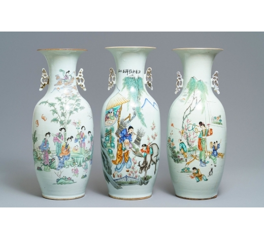 Rob Michiels AuctionsThree Chinese famille rose vases with figural design, 19/20th C.