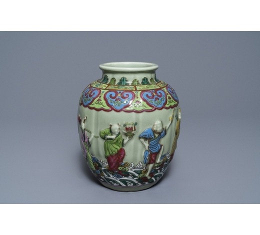 Rob Michiels AuctionsA Chinese relief-decorated famille rose celadon-ground vase, 19/20th C.