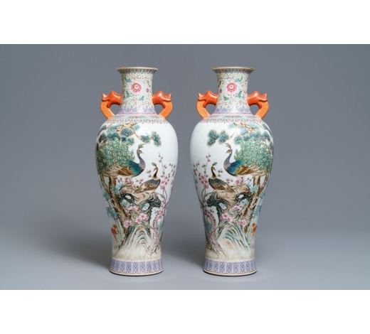 Rob Michiels AuctionsA pair of Chinese famille rose 'peacock' vases, Qianlong mark, Republic, 20th C.