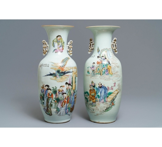 Rob Michiels AuctionsTwo Chinese famille rose vases with figural design, 19/20th C.