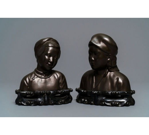 Rob Michiels AuctionsA pair of Chinese bronze 'Cultural Revolution' busts, 3rd quarter of the 20th C.