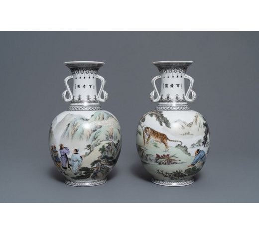 Rob Michiels AuctionsTwo fine Chinese ruyi-handled vases, 2nd half 20th C.