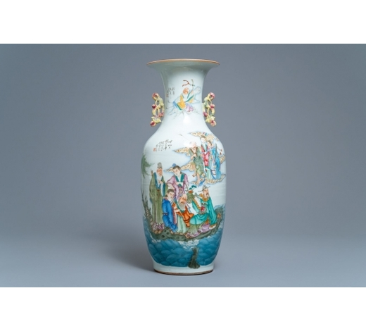 Rob Michiels AuctionsA Chinese famille rose two-sided design vase, 19/20th C.