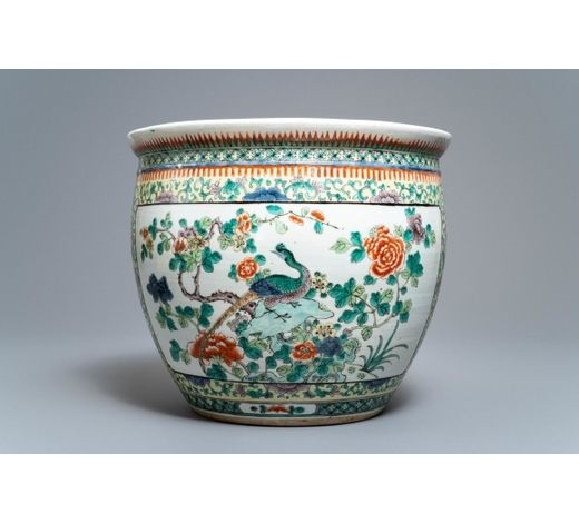 Rob Michiels AuctionsA Chinese famille verte fish bowl with birds among flowers, 19th C.