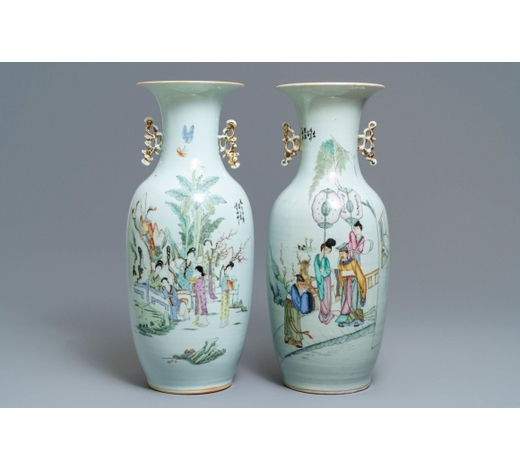 Rob Michiels AuctionsTwo Chinese famille rose vases with figures in a garden, 19/20th C.