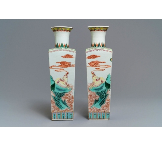 Rob Michiels AuctionsA pair of square Chinese famille rose 'mythical beasts' vases, 19/20th C.