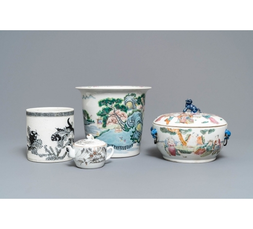 Rob Michiels AuctionsFour pieces of Chinese famille rose and grisaille porcelain, 19/20th C.