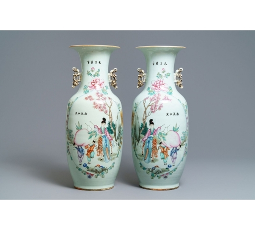 Rob Michiels AuctionsA pair of Chinese famille rose 'Magu' vases, 19/20th C.