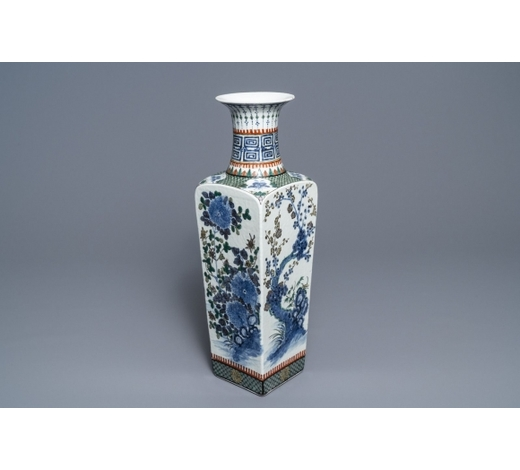 Rob Michiels AuctionsA square Chinese famille verte vase with floral design, 19th C.