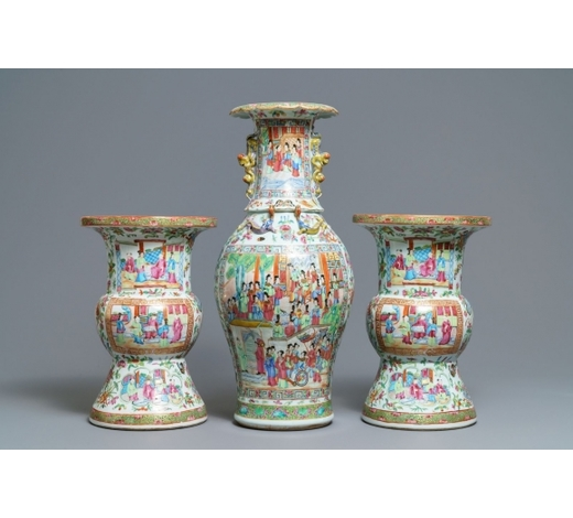Rob Michiels AuctionsA pair of Chinese Canton famille rose spittoons and a vase, 19th C.