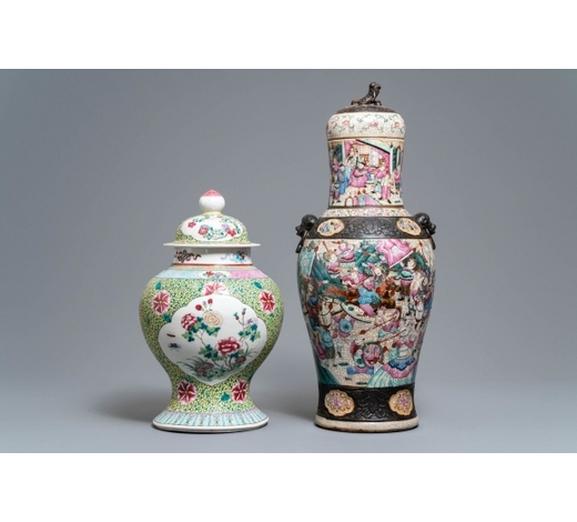 Rob Michiels AuctionsTwo Chinese famille rose vases and covers, 19/20th C.