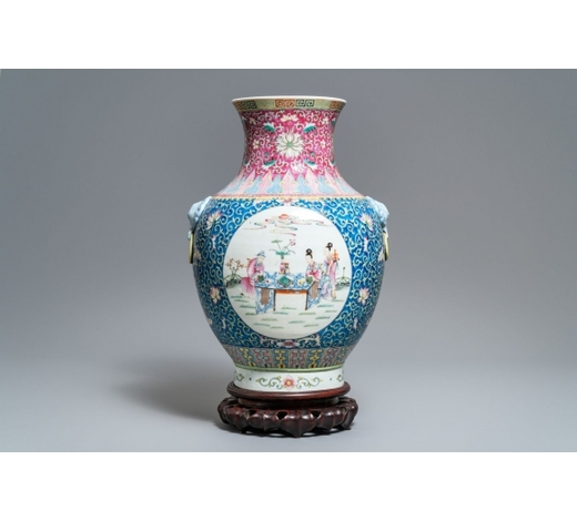 Rob Michiels AuctionsA large Chinese famille rose 'hu' vase, Qianlong mark, Republic, 20th C.