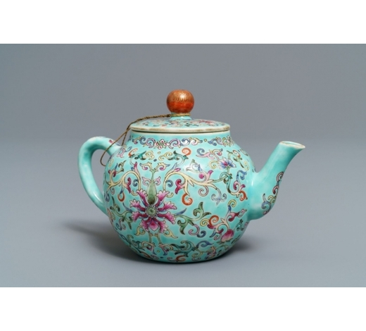 Rob Michiels AuctionsA Chinese turquoise-ground famille rose teapot, Jiaqing mark, Republic, 20th C.