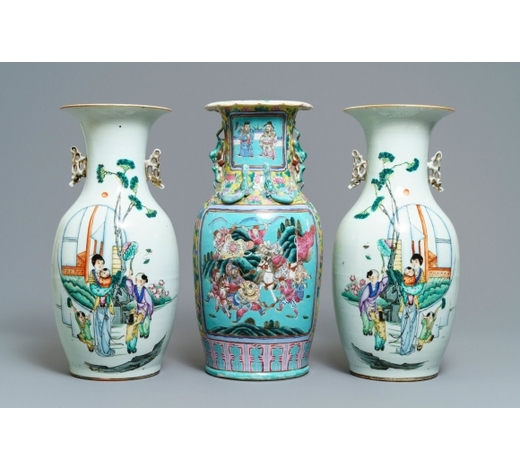 Rob Michiels AuctionsA pair of Chinese famille rose vases and a turquoise-ground warrior vase, 19/20th C.