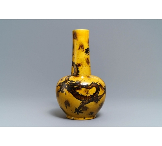 Rob Michiels AuctionsA Chinese yellow-ground bottle vase with a dragon, Qianlong mark, 19/20th C.