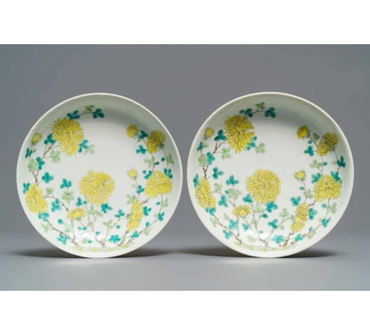 Rob Michiels AuctionsA pair of Chinese yellow and green enamelled 'chrysanthemum' plates, Guangxu mark, 19/20th C.