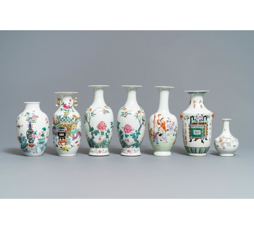 Rob Michiels AuctionsSeven Chinese famille rose vases, 19/20th C.