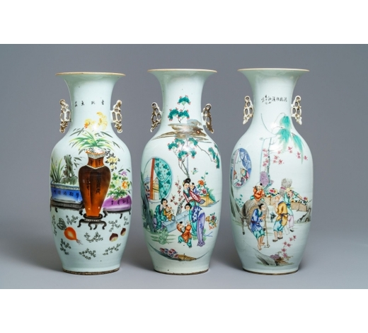 Rob Michiels AuctionsThree Chinese famille rose vases, 19/20th C.