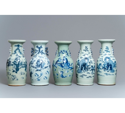 Rob Michiels AuctionsFive Chinese blue and white celadon-ground vases, 19th C.